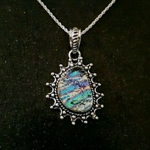 Jewelry - Sterling silver dichroic glass necklace